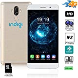 Indigi 4G LTE GSM Unlocked 6 Smartphone (8Core 1.3 GHz + Android 7 + Finger Scanner + Dual SIM) + 32 GB microSD - Gold