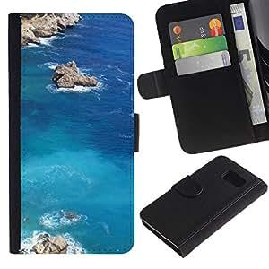 LASTONE PHONE CASE / Lujo Billetera de Cuero Caso del tirón Titular de la tarjeta Flip Carcasa Funda para Samsung Galaxy S6 SM-G920 / Nature Lagoon Rock