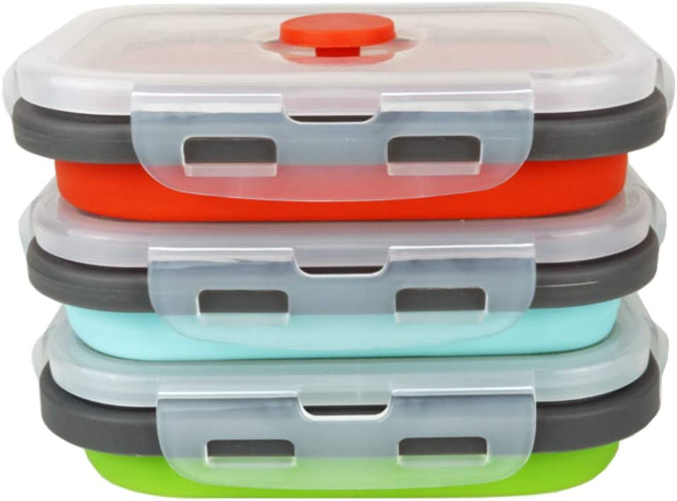 ECOmorning 3 Piece Silicone Food Storage Containers Collapsible Silicone Bowl with Airtight Silicone Lids, Collapsible Lunch Box - Microwave, & Freezer Safe, 350ML