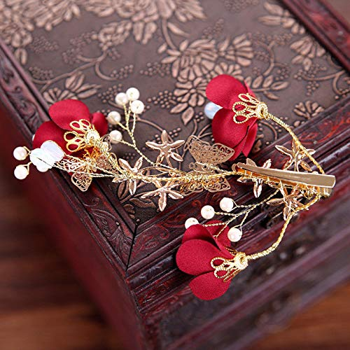 - Charm Bridal Wedding Red Flower Crystal Gold Butterfly Hair Clip Hairpin Jewelry