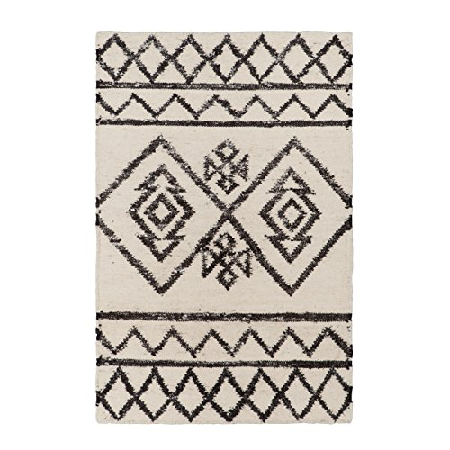 Sova Geometric Area Rug  2 X 3  Black And White    Super Wool Scandinavian Nordic Style Area Rug For Living Room Kitchen Bedroom Cabin