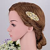 Austrian Crystal Cream Simulated Gold Palting Bridal Leaf Hair Comb Clear Side Comb minmin