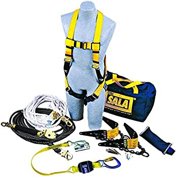 3M DBI SALA 7611904 Rooferu0027s Fall Protection Kit With 50u0027 Horizontal  Lifeline, 2 Reusable Roof Anchors, Harness, Rope Adjuster Lanyard And  Counterweight, ...