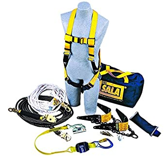 3M DBI-SALA 7611904 Roofer's Fall Protection Kit with 50' Horizontal  Lifeline, 2 Reusable Roof Anchors, Harness, Rope Adjuster Lanyard and  Counterweight, Blue/Yellow - - Amazon.comAmazon.com