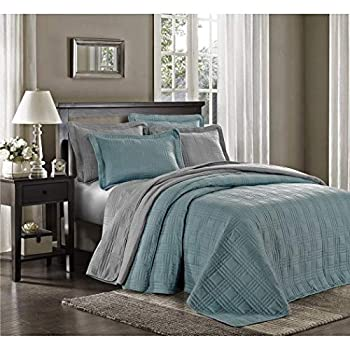 Image of 3 Piece Blue Oversized Bedspread King, Geometric Pattern Oversize To The Floor Extra Long Bedding, Wide Drapes Over Edge Drops Down Shabby Chic French Country Checkered Plaid, Cotton Home and Kitchen