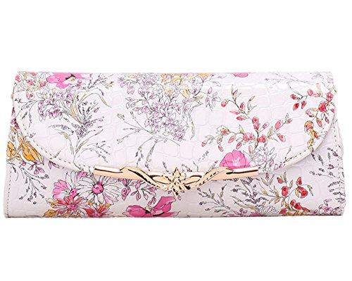 FEOYA Bolso de Embrague para Mujer Básico con Corchete Estilo Porcelana Elegante Multifunciones Lujo para Partido de Tarde Noche Cena Fiestas - Color Rosado