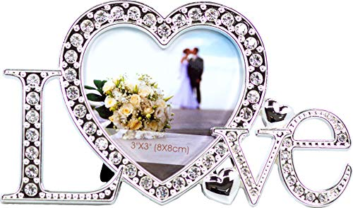 - VI N VI Love Picture Frame Covered in Silver Rhinestones