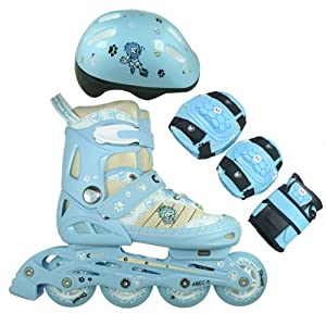 FA Sports Kinder Inline-Skates Set Gears, blau, weiß, creme, schwarz, M, 1200