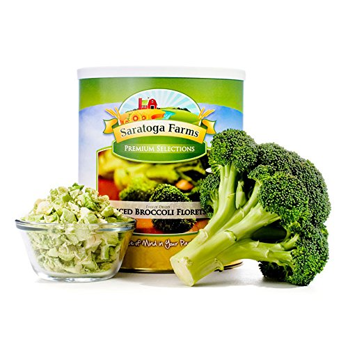 Saratoga Farms Freeze Dried Broccoli Florets, 1 Emergency Food Storage, 23 Total Servings of freeze-dried vegetables with a 20-30 Year Shelf-Life in #10 Can (Save More with 2,3,4, or 6 Pack)