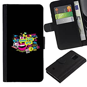 EJOY---Tirón de la caja Cartera de cuero con ranuras para tarjetas / Samsung Galaxy S5 Mini, SM-G800 / --Tipografía Meme Lol Omg Wtf Dsl