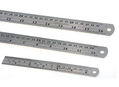Stainless Steel Ruler Metal Ruler Kit with Conversion Table 18 Inch, 12 Inch and 6 Inch Marked Straight Measuring Rulers for Office & Educational - Kit Time Conversion