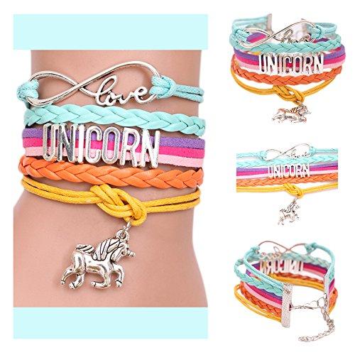 Unicorn Gifts for Girls - Unicorn Drawstring Backpack/Makeup Bag/Bracelet/Inspirational Necklace/Hair Ties by CMK TRENDY KIDS (Image #4)