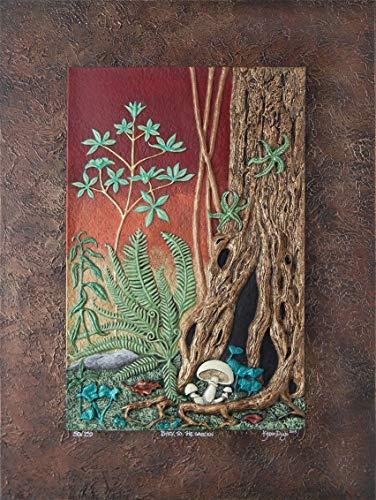 (Back to Garden - Cast Paper - nature - tree - wall art - canvas - sunset - mushroom - fantasy garden)