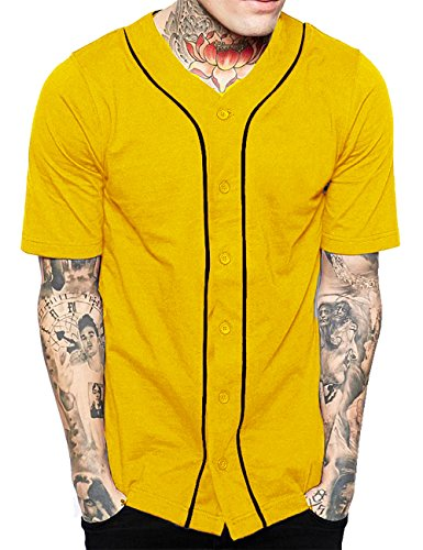 Hat and Beyond Mens Baseball Button Down Jersey (Large, 1up01_Yellow/Black)