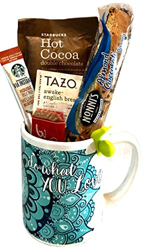 Coffee Tea Cocoa Mug Gift Set with Starbucks Via Coffee, Starbucks Hot Cocoa, Tazo Tea, Honey, Nonni's Biscotti + More -Lots of Cup Styles- (Do What You Love) (Breakfast Themed Gift Baskets)