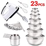 Mixing Bowls(Set of 7)+ 7-Speed Hand Mixer Electric + Measuring Cups(Set of 4)+Measuring Spoons (Set of 7)Great for Baking Prepping Cooking Supplies