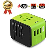 Travel Adapter, JMFONE Universal Travel Adapter 3.4A Type C 4 USB International World Power Plug Adapter Kit Travel Wall Charger USB Plug with UK, EU, AU, US for 200 countries (green)