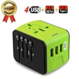 Travel Adapter, JMFONE Universal Travel Adapter 3.4A Type C 4 USB International World Power Plug Adapter Kit Travel Wall Charger USB Plug UK, EU, AU, US 200 Countries (Green)