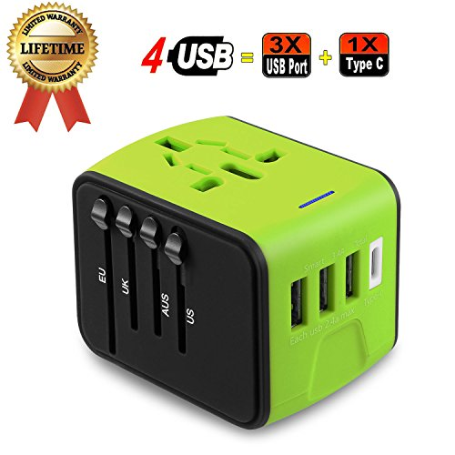 Travel Adapter, JMFONE Universal Travel Adapter 3.4A Type C 4 USB International World Power Plug Adapter Kit Travel Wall Charger USB Plug UK, EU, AU, US 200 Countries (Green) by JMFONE