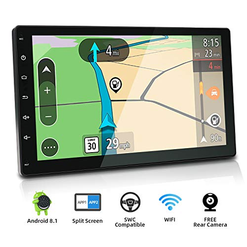 Android 8.1 Double Din Car Stereo,YUNTX 10.1 Inch in Dash Navigation with USB/SD 2GB RAM,16GB Tablet PC,Full HD,Bluetooth,Plug-and-Play Entertainment System with HD Rear View Camera (Android 8.1)