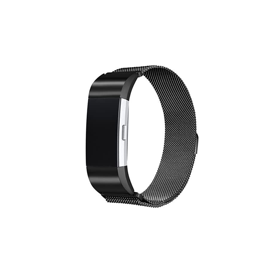 bayite Milanese Loop Bands Compatible Fitbit Charge 2, Stainless Steel Magnet Lock Metal Large Small