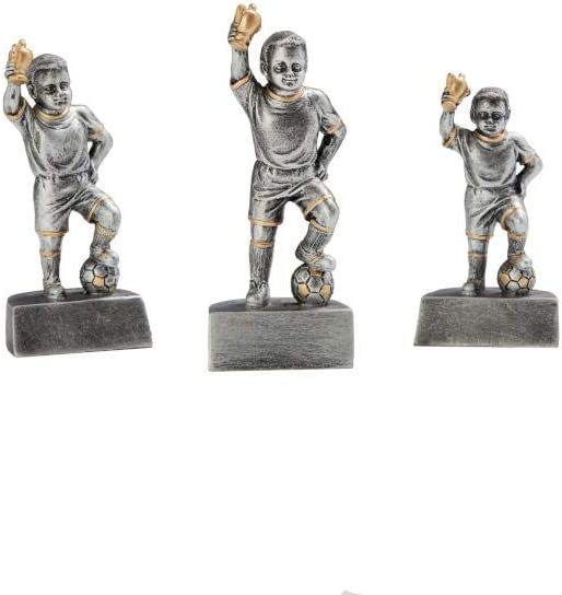 oder als 3er-Serie w/ählbar in 3 Gr/ö/ßen Resinfigur Sieger-Fu/ßballjunge mit Wunschgravur Silber mit Gold Henecka Fussball-Kinder-Pokal
