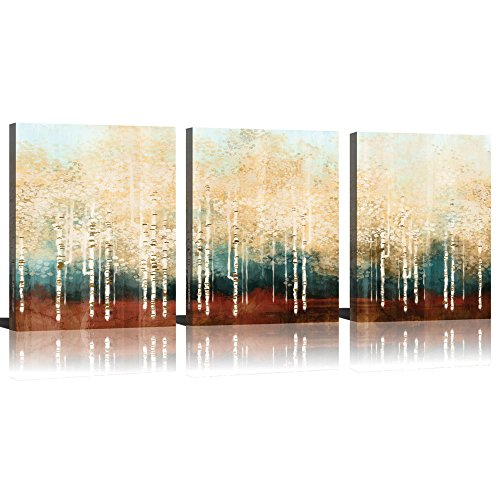 Mode Art Wall Art 3 Panel White Birch Forest Braches Season Landscape Painting Abstract Art Wall Scenery Picture For Living Room Wall Decor Oil Paintings Framed Stretched Easy To Hang 12x16 Inch (Oil Painting Scenery)