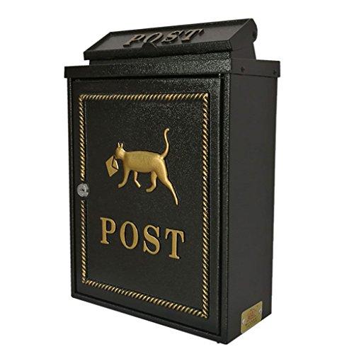 Jiu Si- Mailbox - High Security Steel Locking Wall Mounted Mailbox - Office Drop Box - Comment Box - Letter Box - Deposit Box, Black Size :29x13x41cm Mailbox