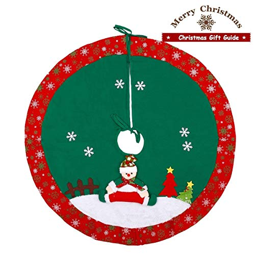 Dpowro Christmas Tree Skirt 36 Inch Xmas Home Holiday Decor(Burlap)