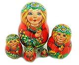 Collectible Hand Painted Russian Matreshka Matryoshka Doll 5 Pcs 3 1/2 Inches