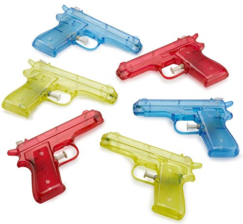 6 Pcs Squirt Water Gun 6 inches Plastic Assorted Colors - Classic Action and Fun Toy, Pool, Prize, Party Favor - by Kidsco