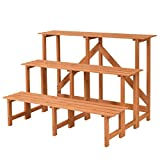Wide Wood Plant Stand Flower Pot Holder Display Rack Shelves Step Ladder 3Tier