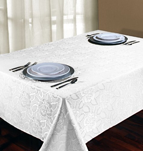 Regal Home Collections Laura Rose Damask Oblong Rectangle Tablecloth, 60 X 84-Inch, White