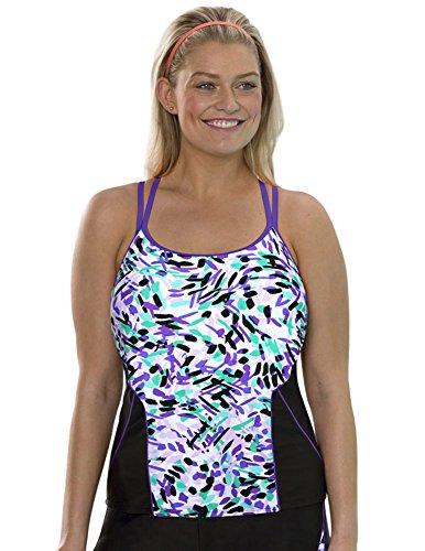 8c64481756919 Aquabelle Women s Plus Size Chlorine Resistant Fountain Racerback Top 20  Multi