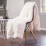 junovo Faux Fur Throw Blanket Super Soft Cozy Fluffy Blankets Luxury Long Hair Shaggy Fuzzy Couch & Bed Throws (Cream White, 51x63 inches)