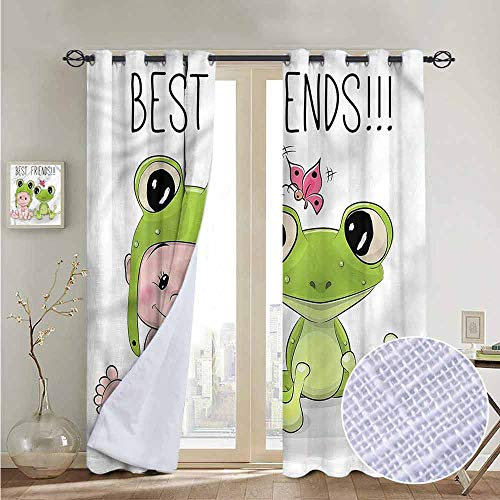 (NUOMANAN Blackout Curtains Animal,Baby Frog Love Friends,for Bedroom,Nursery,Living Room 54