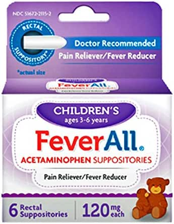 FeverAll Children's Acetaminophen Suppositories, 120 mg - 6 ea., Pack of 2