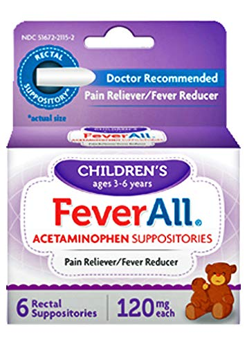 FeverAll Children's Acetaminophen Suppositories, 120 mg - 6 ea., Pack of - Suppositories Acephen Acetaminophen