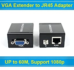 Security 1080P VGA Signal 60M Extender Repeater Adapter over Single RJ45 Cat 5e Cat6 Network Cable (1 Transmitter + 1 Receiver)
