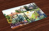 fine italian patio design ideas Ambesonne Fine Art Place Mats Set of 4, Tuscany Village Scenery with Cottage House Italian Countryside Trees Artsy Picture, Washable Fabric Placemats for Dining Room Kitchen Table Decor, Multicolor