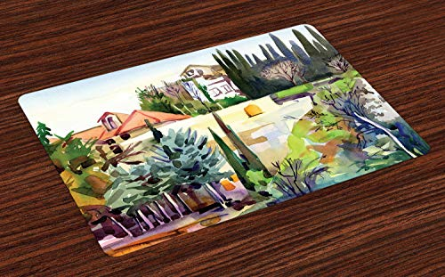 Ambesonne Fine Art Place Mats Set of 4, Tuscany Village Scenery with Cottage House Italian Countryside Trees Artsy Picture, Washable Fabric Placemats for Dining Room Kitchen Table Decor, Multicolor