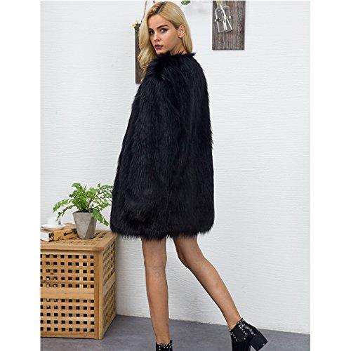 MIOIM Damen Pelzimitat Mantel Faux Pelz Lang und Kurz Winterjacke Mode Warme Jacke Outwear Parka Tops Schwarz cvlvG