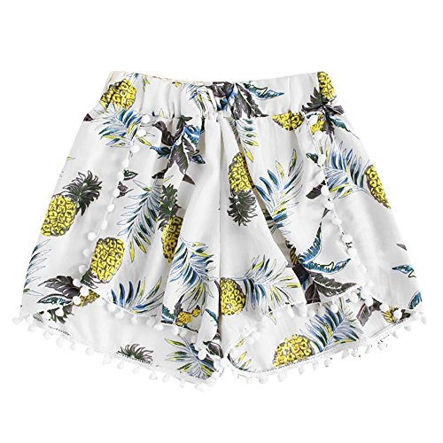 Price comparison product image FarJing Clearance Sale Womens Pineapple Printing Mid Waist Loose Shorts Elastic Waist Shorts Pants (XL, White