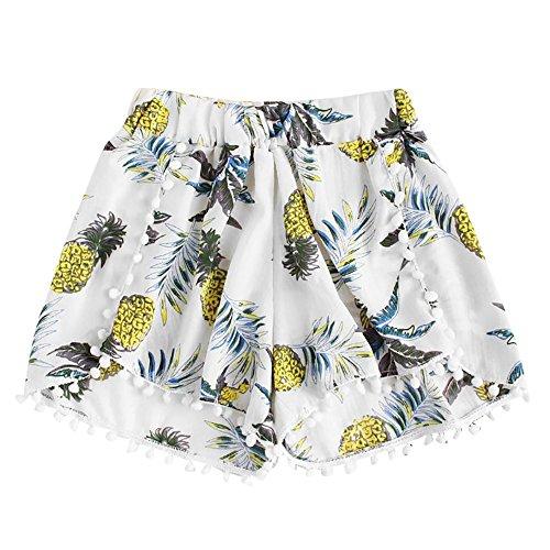 (FarJing Clearance Sale Womens Pineapple Printing Mid Waist Loose Shorts Elastic Waist Shorts Pants (M,White))