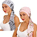 Bamboo Cotton Lined Cancer Headwear for Women Chemo Hat with Scarfs of DORALLURE