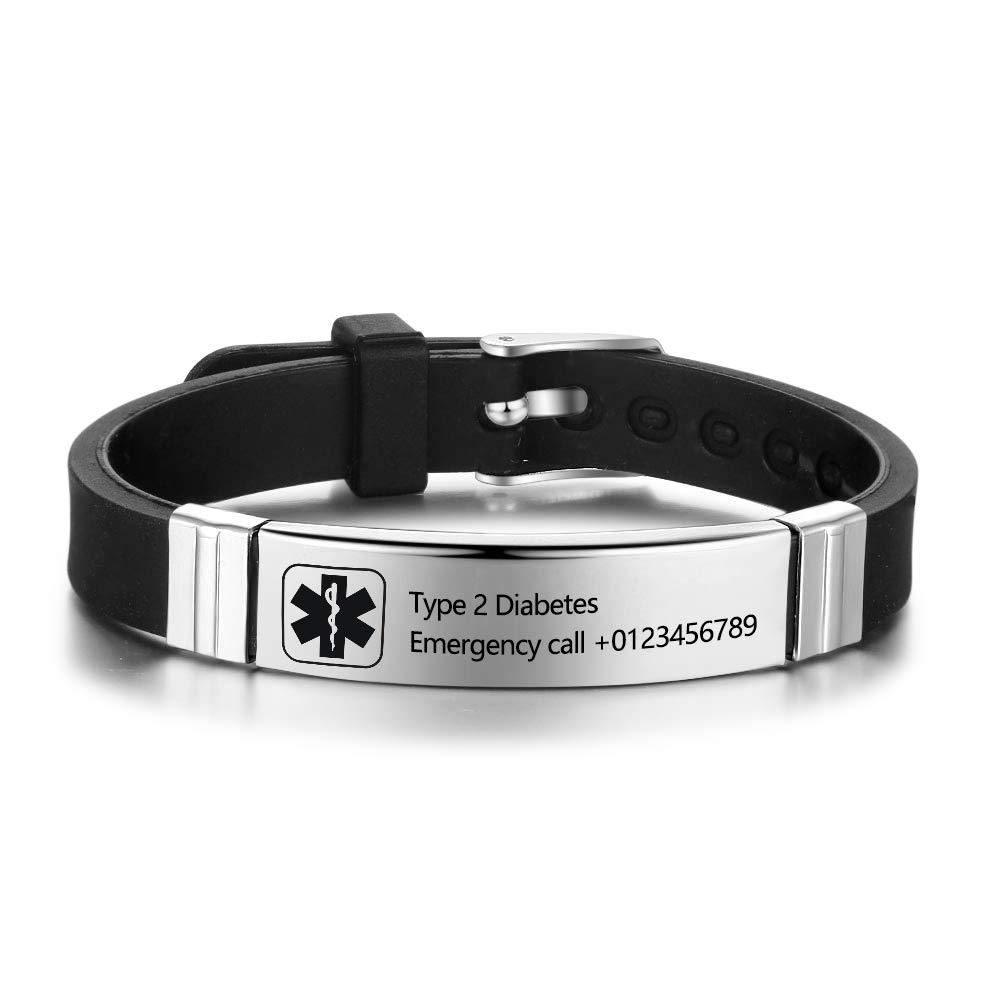 Personalized Medical Alert Bracelets for Men Women Sport Emergency ID Bracelets Adjustable Diabetic ID Bracelets Band for Boys (Black)