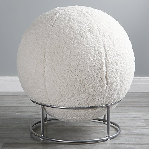 Best Home Fashion Sherpa Kushy Cushy Faux Fur Yoga Ball Chair