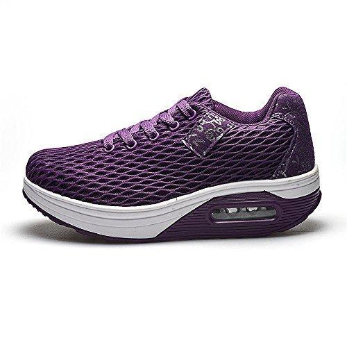 Sneakers Lightweight Women's Wedges Casual Purple Shoes Trainers Walking Kemosen Breathable Shoes Platform Ladies Comfortable Running HSq4WAEEn