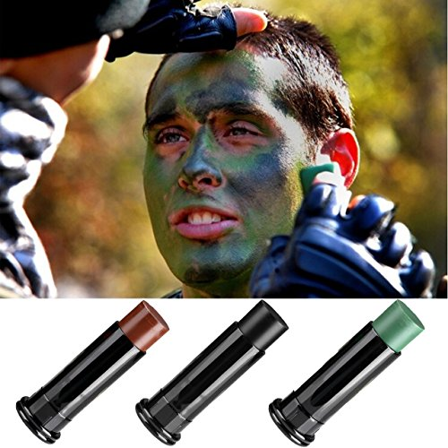 CCbeauty Camo Face Paint Sticks -3 Colors Professional Camouflage Paint Kit For Party Paintball Hunting Army Training (Face Paintballs)