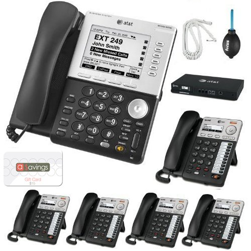 AT&T Syn248 SB35031 Corded Deskset Phone System Bundle With (5) AT&T Syn248 SB35025 Corded Deskset Phones and an AT&T SB35010 4 Line Analog Gateway + Accessory Bundle + $15 aSavings Gift Card (Electric Pencil Sharpener Corded compare prices)